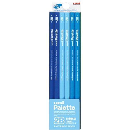 三菱鉛筆 かきかた鉛筆 ユニパレット 2B K55602B パステルブルー ...