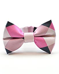 Littlest Prince Couture Pink and Charcoal Check Infant/Youth Bow Tie 0-8 Years