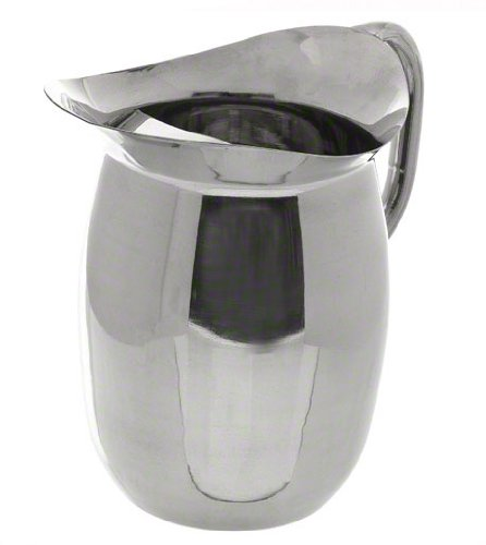 Update International BP-3G Stainless Steel Bell Pitcher with Ice Guard, Round, Lustrous, 96-Ounce