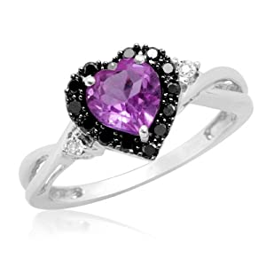 10k White Gold Heart Shaped Amethyst with Round Black and White Diamonds Ring, Size 9
