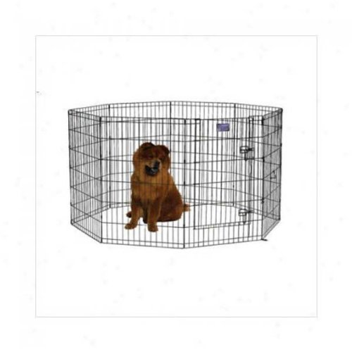 Black E-Coat Pet Exercise Pen with Walk-Thru Door - 30