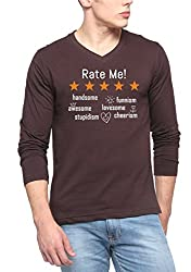 PepperClub Printed Men's V-Neck Full Sleeve T-shirt - Rate Me - Brown-hpvnf-rate-brown-s
