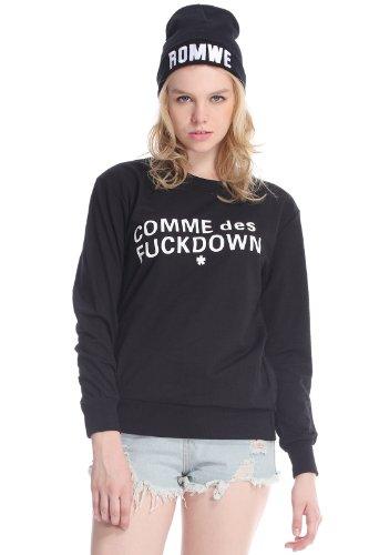 Romwe Women'S White Fuckdown Letters Print Coitton Sweatshirt-Black-M front-1048728