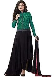 INDIA FASHION SHOP BLACK GREEN PRINTED WORK GEORGETTE UN-STITCHED DRESS
