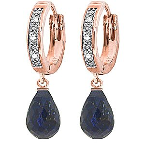 QP Jewellers Natural Sapphire & Diamond Hoop Earrings in 9ct Rose Gold, 0.04ct - 3388R