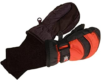 SnowStoppers Kid's Waterproof Stay On Winter Nylon Mittens Small / 1-3 Years Black / Red