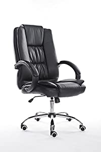 BLACK HIGH BACK EXECUTIVE OFFICE CHAIR LEATHER COMPUTER DESK FURNITURE       reviews