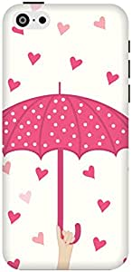 The Racoon Lean Pink Raining Love hard plastic printed back case / cover for Apple Iphone 5c