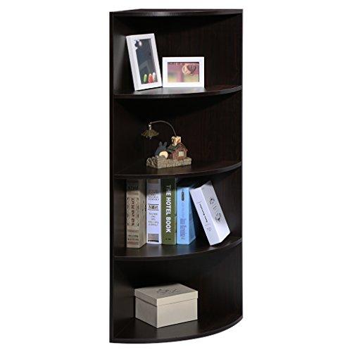 LANGRIA 5-Tier Modular Shelving Corner Shelf Narrow Bookcase, Round End Shelves, Sturdy MDF Construction, Home Office Use, 15.6