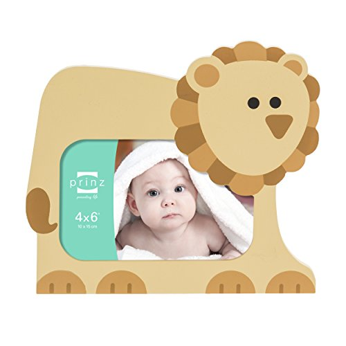 4x6 Little Safari Tan Shaped Lion Wood Frame