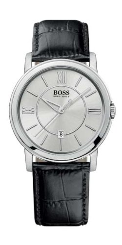 Hugo Boss - 1512417 - Gents Watch - Analogue Quartz - Silver Dial - Black Leather Strap