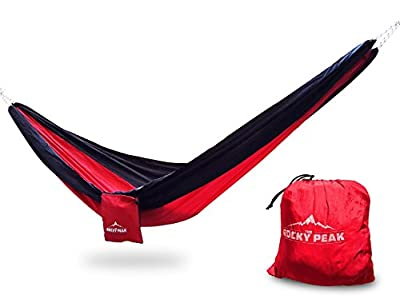 #1 Best Ultralight Camping Hammock - For Travel, Backpacking, Hiking, and Beach - Parachute Fabric - Portable Only 13oz - Single Person Hammocks - by The Rocky Peak
