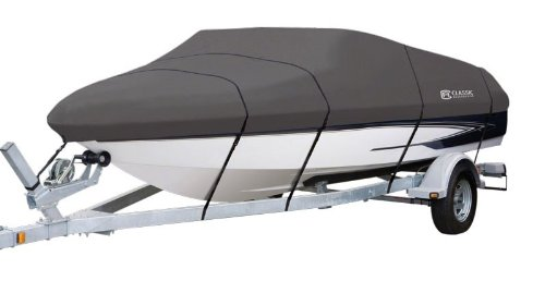 Classic Accessories StormPro Heavy Duty Boat Cover, Charcoal, Fits 17' - 19' L x 102