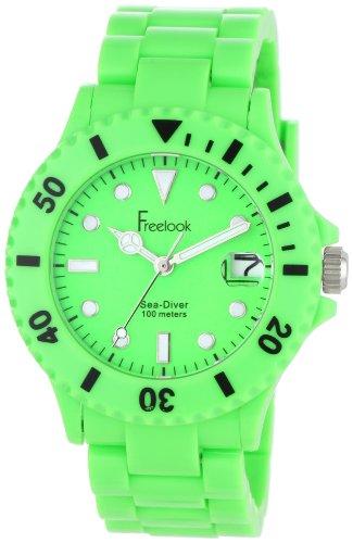 Freelook Women's HA1431-4 Sea Diver Neon Green Band Green Dial Watch