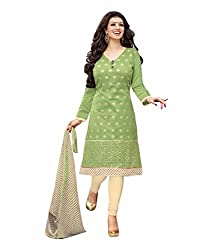 Zombom Green Chanderi Cotton Embroidered Un-stitched Salwar Suit