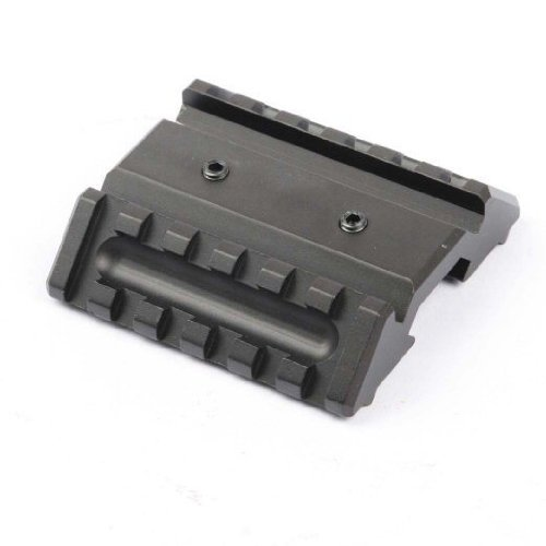 Global Sportsman Tactical Dual Side 45 Degree Angle Offset 6 Slot Extension Mount With Weaver / Picatinny Rail Base, Perfect For Attaching Back Up Optic Sights, Flashlights And Lasers To Your Weapon - Rifle Shotgun Handgun Pistol Ar15 Ar-15 M16 .223 Ak Ak
