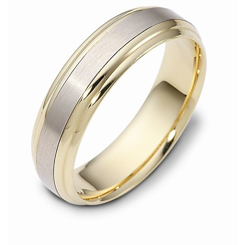 10K Two-Tone Gold, Step Edge 6MM Wedding Band (sz 5)