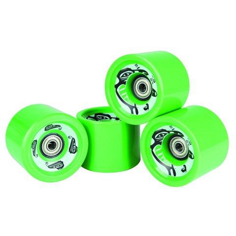 Longboard Rollen Wheels in grün abec 5 Chrom Kugellager