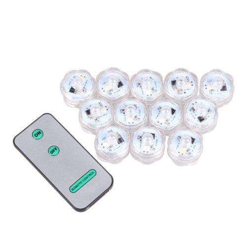Remote Controlled Submersible Wedding Party Vase Plum Blossom Shape Led Tea Light Pack Of 12 (Light Color---Blue)
