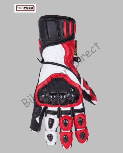 Red & Black Protective Leather Motorbike / Motorcycle Gloves - Large