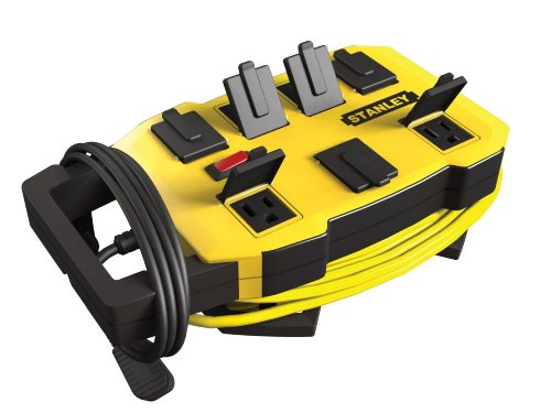 Stanley 32060 Outrigger 7-Outlet Power Station with Cord Caddy, Yellow and Black, 6-Ft