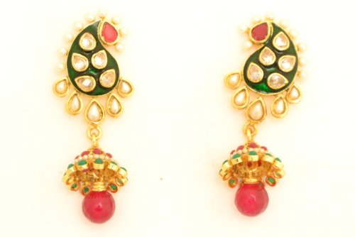 Fashion Balika Fashion Jewelry Gold-Plated Dangle & Drop Earring For Women Green-BFJER019 (Yellow)