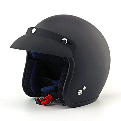 Custom 3/4 Open Face Motorcycle Helmet DOT Approved Shell Cruiser Harley Chopper Touring Scooter Motorcycle Helmet, Helmet Bag Included (XL, Matt Black) (Open Face Motorcycle Helmet Xxxl compare prices)