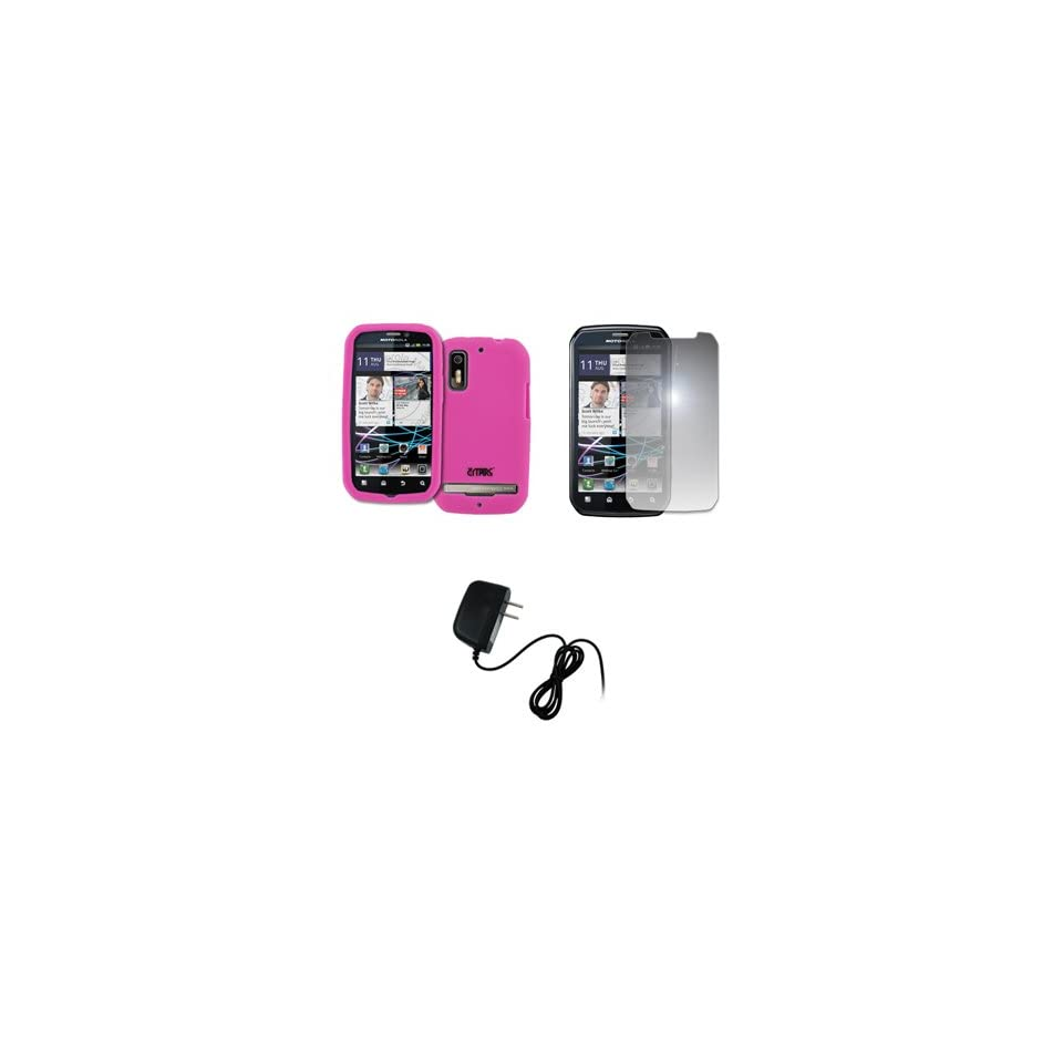 EMPIRE Hot Pink Silicone Skin Case Cover + Mirror Screen Protector + Home Wall Charger for Sprint Motorola Photon 4G