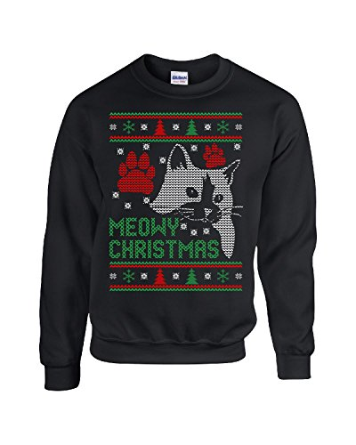 Meowy Christmas Cat Ugly Christmas Sweater Xmas - Sweatshirt Black S