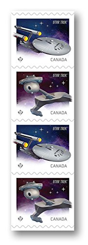 Star Trek 50th Anniversary - Constitution-class U.S.S. Enterprise and a Klingon D7-class battle cruiser - Strip of 4 Coil Collectible Postage Stamps Canada (Canada Post compare prices)