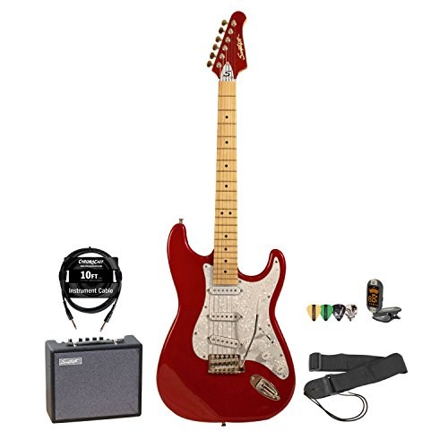 Sawtooth Candy Apple Red Electric Guitar W/ Pearl White Pickguard - Includes: Accessories