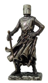 """Crusader Knight Statue Bronze Finishing Cold Cast Resin Statue 7"""" (8710)"""