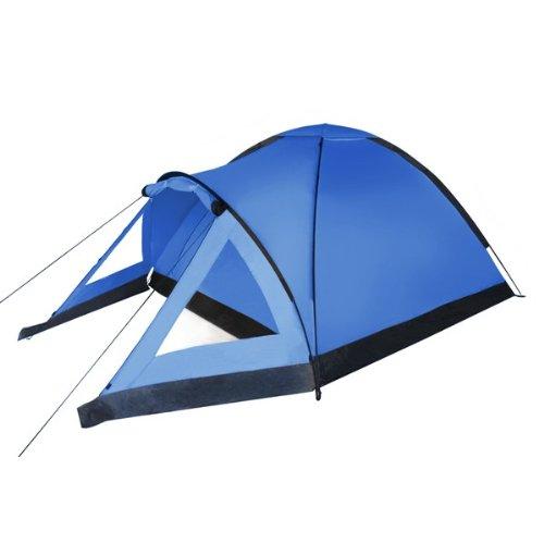 Kuppel-Zelt SUNRISE für 3 Personen Wassersäule 3000 Camping Zelt Kuppelzelt Festival von BB Sport, Farbe:blau