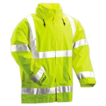 Tingley Rubber J23122 Vision CL3 Breathable Jacket with Hood, Medium, Lime Green
