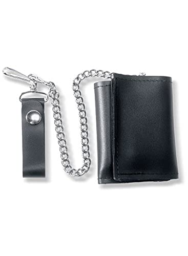 05. Carroll Leather Plain Black Tri-Fold Wallet with Chain