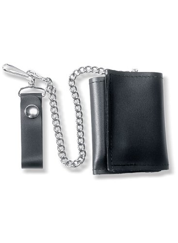 Carroll Leather Plain Black Tri-Fold Wallet with Chain