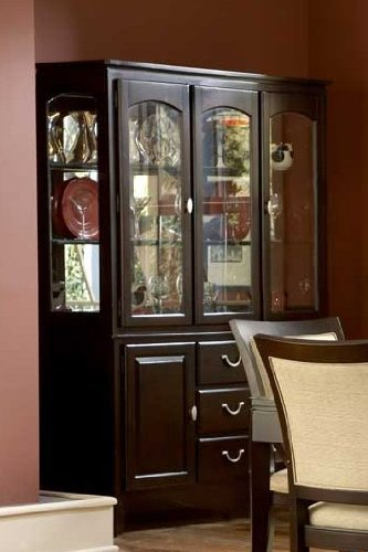 Cheap China Cabinet Buffet Hutch Contemporary Style in Dark Cherry Finish (VF_HE1377-50)