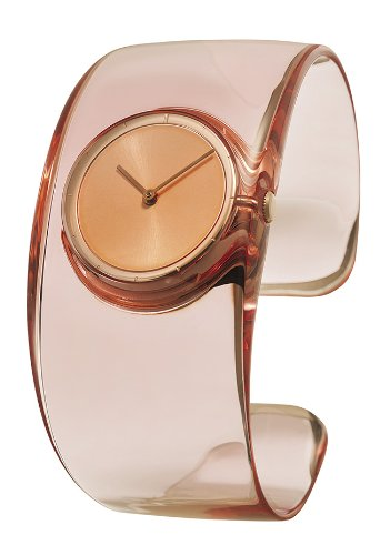 Issey Miyake O Women's Quartz Watch with Pink Dial Analogue Display and Pink Resin Bangle SILAW003