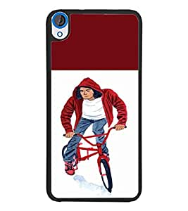 PrintDhaba Bicycle Boy D-2652 Back Case Cover for HTC DESIRE 820 (Multi-Coloured)