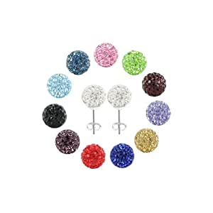 One Pair of 925 Sterling Silver 10mm Round Clear Disco Ball Back Post Stud Earrings