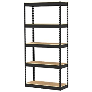 Gorilla Rack GR5-3012-5PCB 30 by 12 by 60-Inch Shelving Unit with 5-Shelf, Black