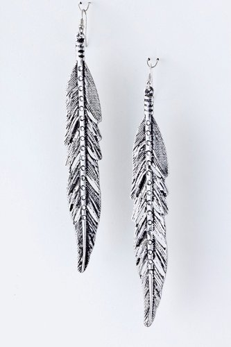 Karmas Canvas Metal Feather Earrings (Antique Silver)