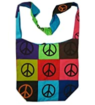 Peace Sign Cotton Canvas Patch Bohemian / Hippie Sling Bag India