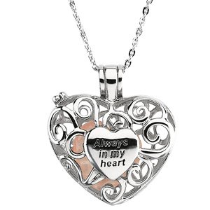 Deborah J. Birdoes Sterling Silver Always in My Heart Locket Pendant with Rose Quartz