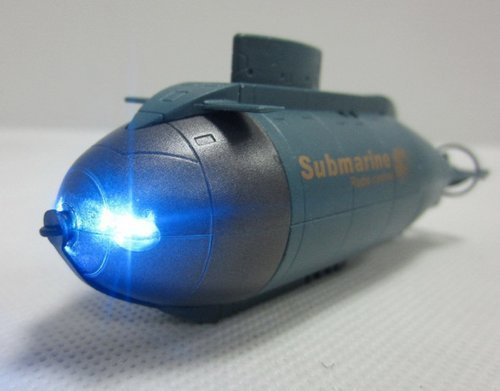 Camecho? 6CH Super Mini RC Submarine with Two Headlight High Speed Remote Control Boat Two Propellers (Blue)
