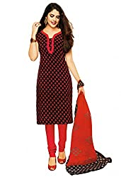 Salwar Studio Womens Cotton Salwar Dress Material (Sp-202 -Black & Red -Free Size)