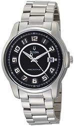 Bulova Men's 96B129 Precisionist Claremont Black Dial Steel Bracelet Watch