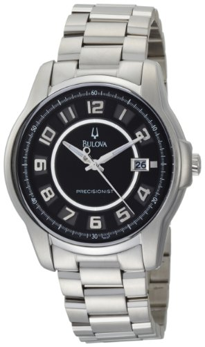 Bulova Men's 96B129 Precisionist Claremont Black Dial Steel Bracelet Watch