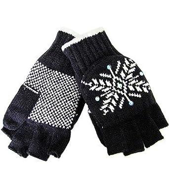 Ladies Knit Convertible Mittens / Gloves (Black)