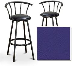 2 Purple Vinyl Seat Black Metal Custom Barstools with Backrest Set Seabrook